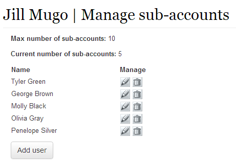Manage sub-accounts