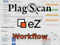 Plagiarism scanner integrated into an editorial approval workflow