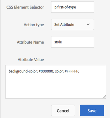Adobe Target modification interface showing attribute manipulation