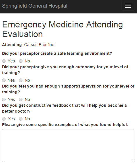 Attending evaluation