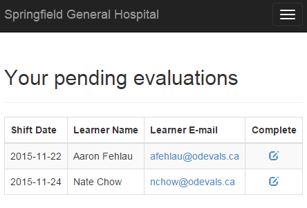 Pending evaluations