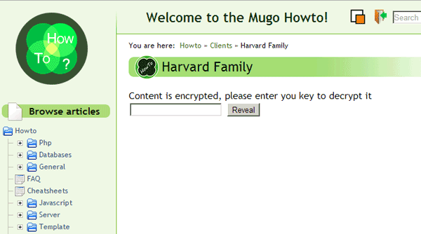 Mugo's internal wiki