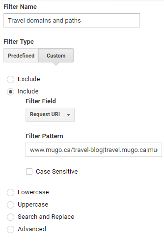 GA Filter: Travel domains and paths