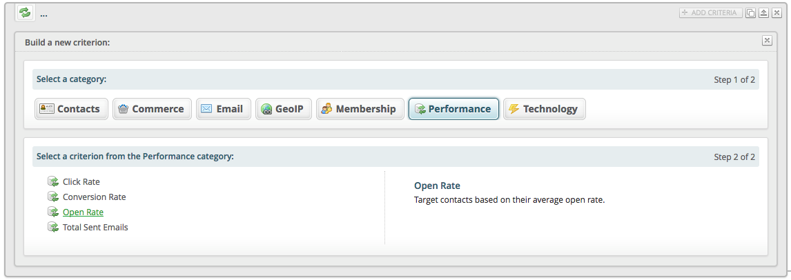"A Bronto criterion interface for the ""Performance"" category"