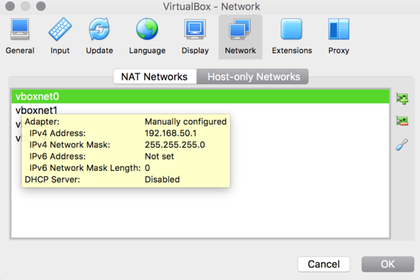 VirtualBox Host-only Networks Screenshot