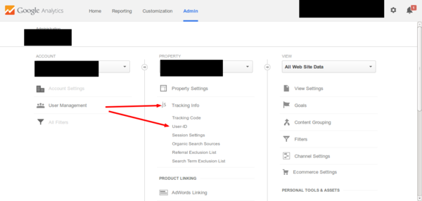 Google Analytics tracking info and user id links