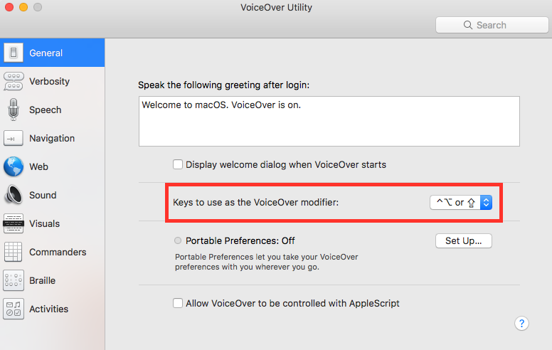 Mac VoiceOver utility dialogue