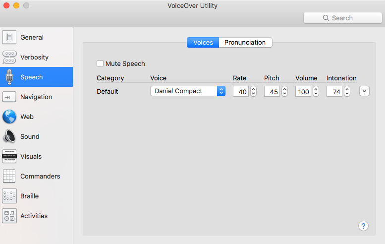Mac VoiceOver utility speech settings
