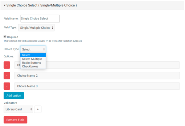 Mugo Custom Forms: Types