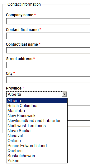 Registration form with Province field