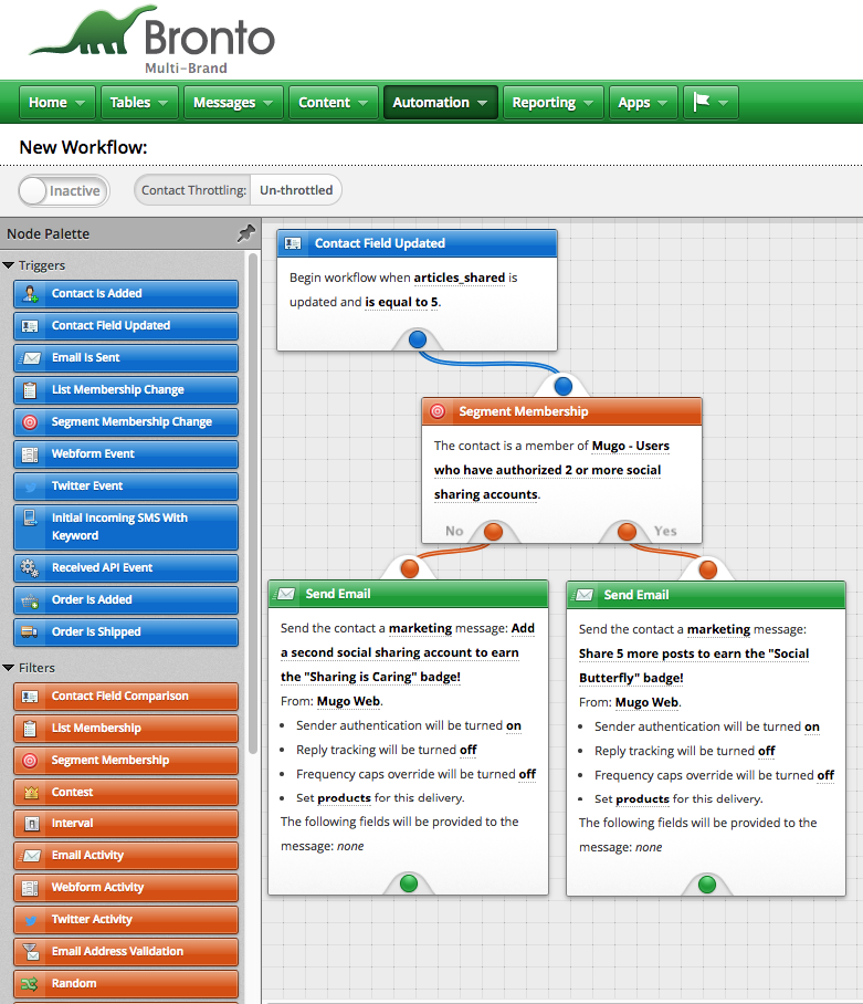 A Bronto workflow that visually connects a set of logical conditions