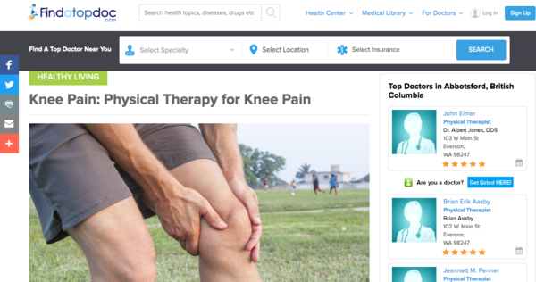 Screenshot from Find a Top Doc Knee Pain article showing keyword placement in Header 1
