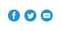 Blue facebook, twitter, and email icons