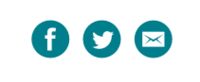 Teal facebook, twitter, and email icons