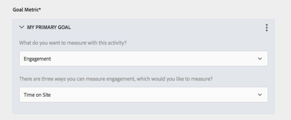 Adobe Target interface set engagement metric to time on site
