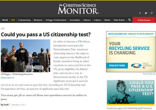 csmonitor.com citizenship test